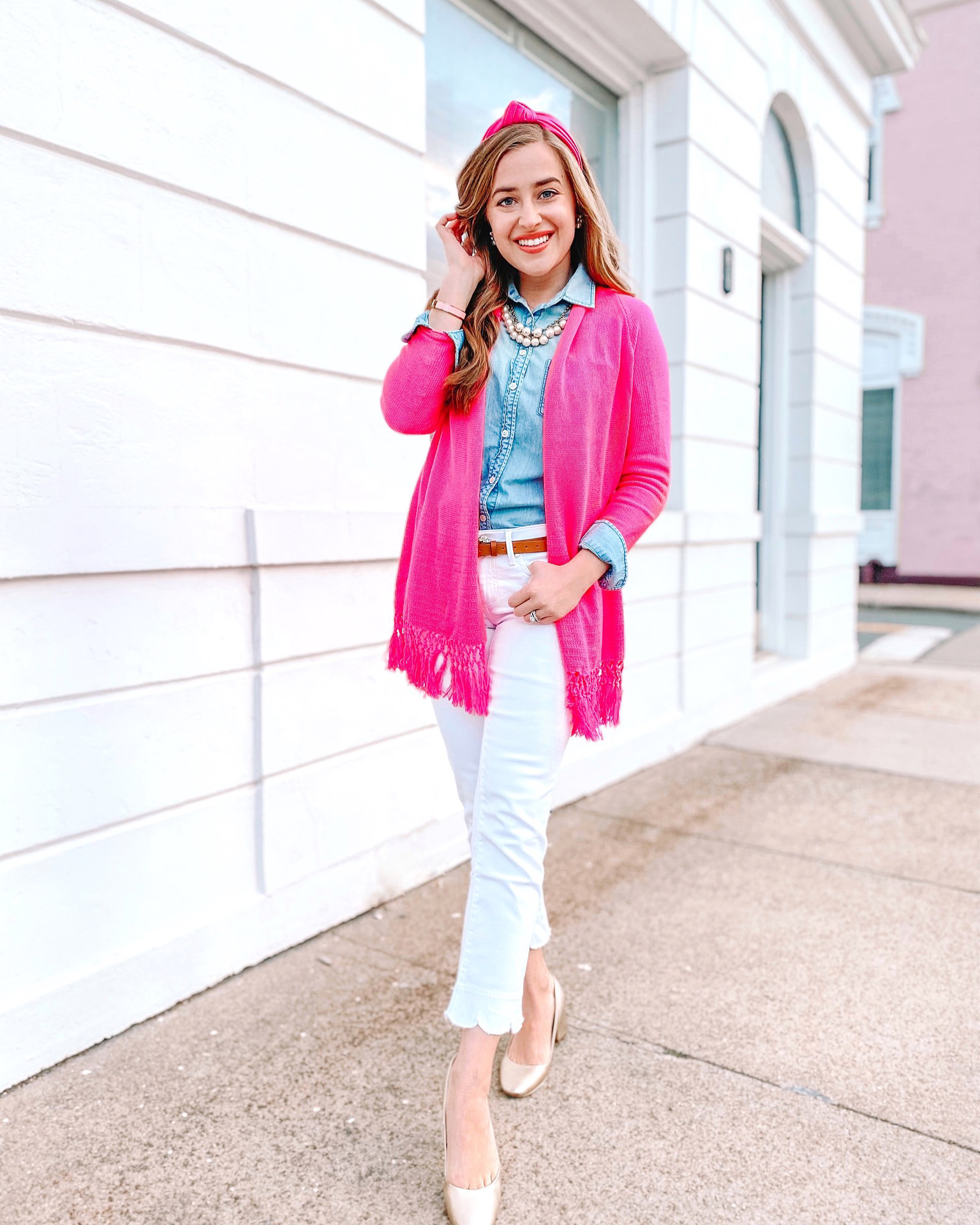Preppy pink cardigan outfit for women. Winter fashion. Spring fashion.