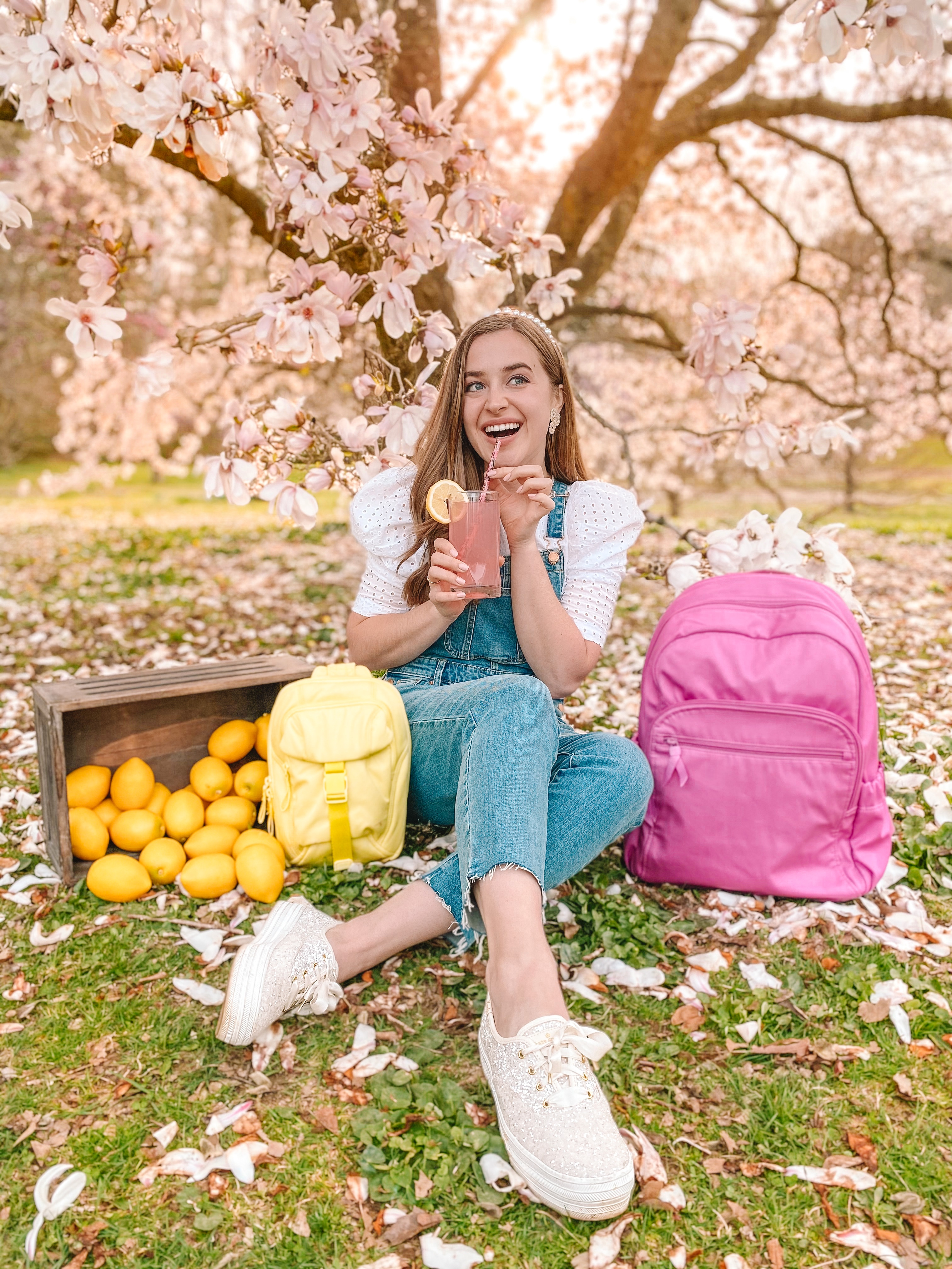 pink lemonade picnic in the spring with vera bradley recycled cotton bags