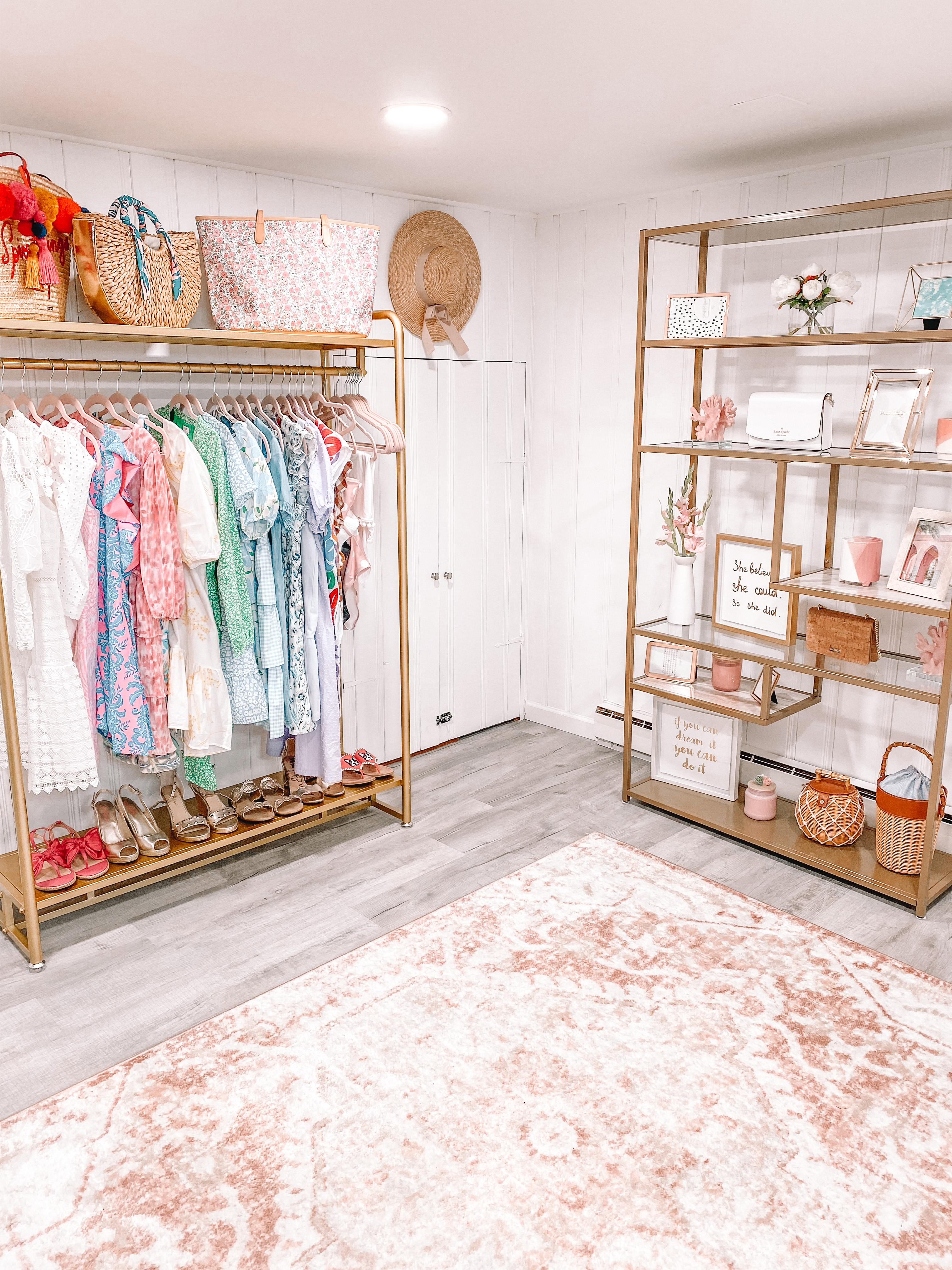 white and pink home office and closet