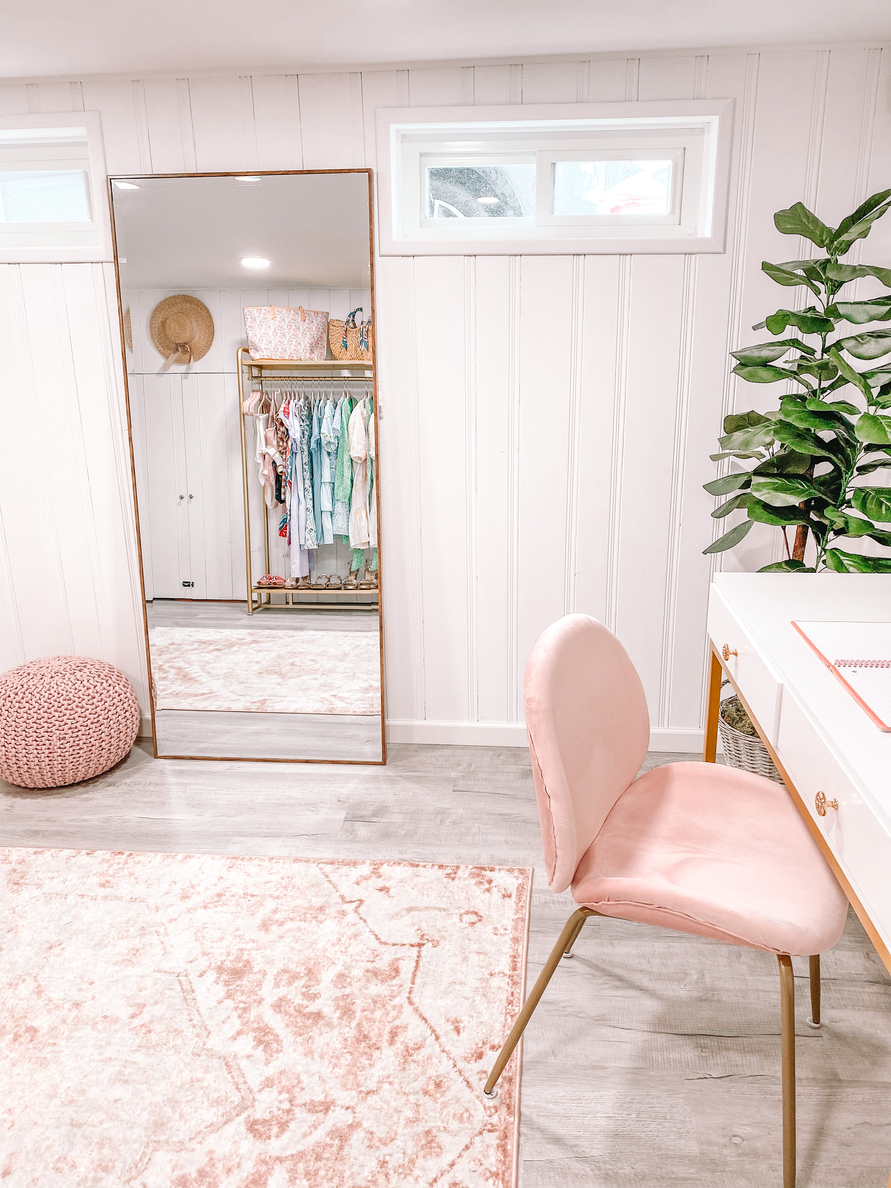 floor length mirror with pink puff and pink desk chair