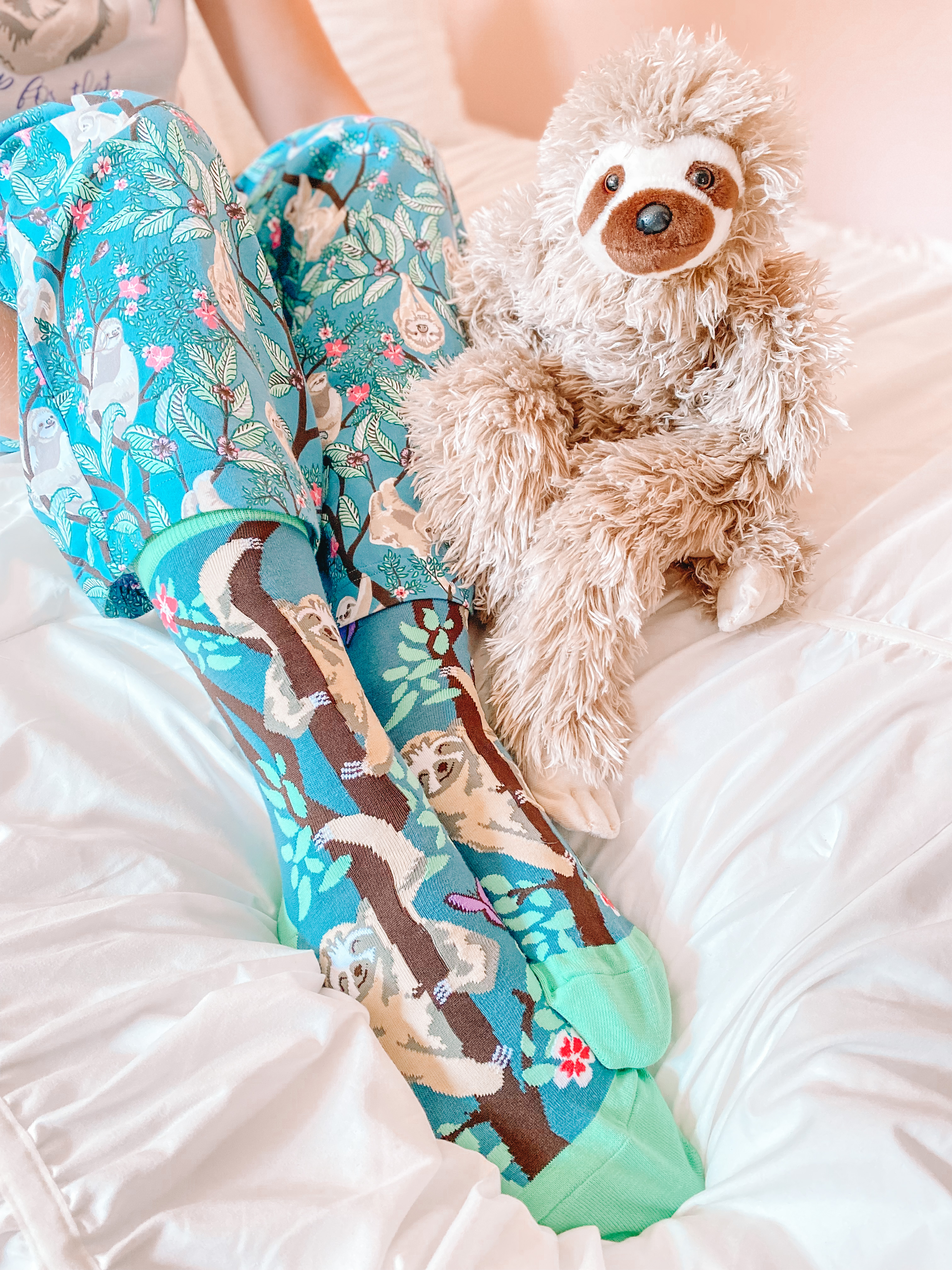 sloth boot socks and sloth toy