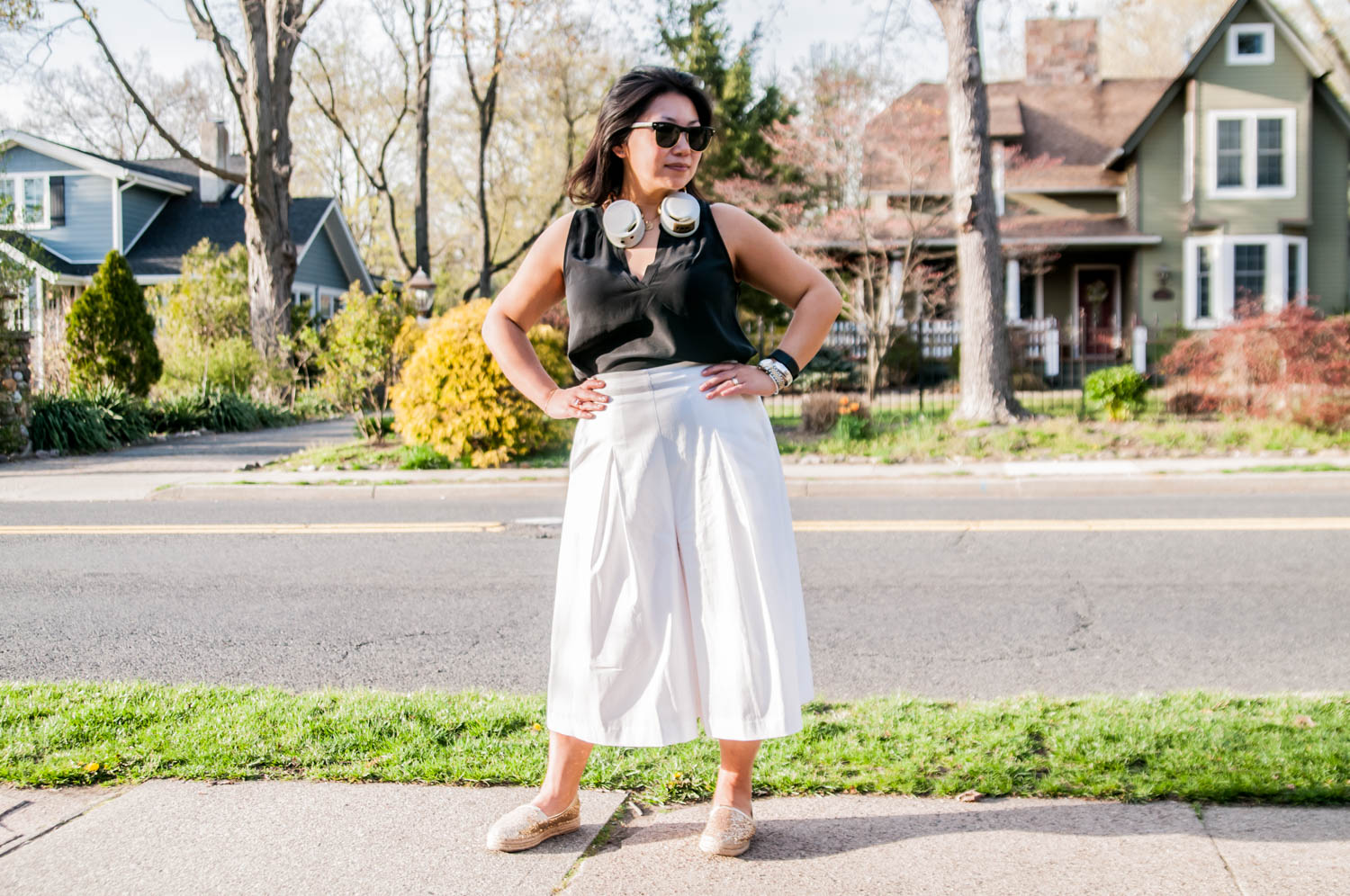 styling white culottes