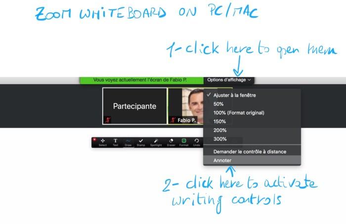 Activation de Zoom whiteboard depuis un ordinateur