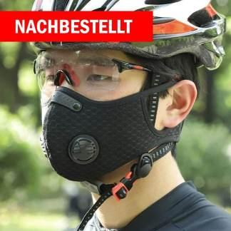 Sport und Trainingsmaske mit Ventil - schwarz