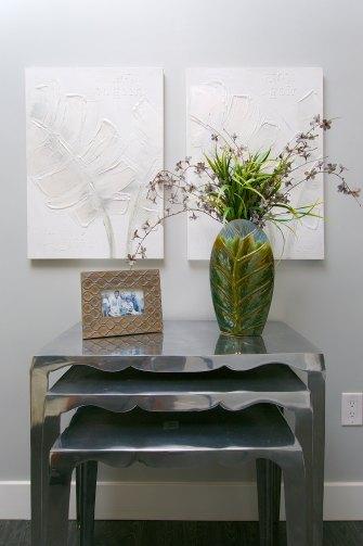 artwork, vases, greenery, side tables home decor
