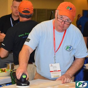 Scott demonstrates a Festool brushless sander at the 2016 PDCA Expo in New Orleans.