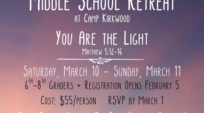 Middle School Retreat March 2018