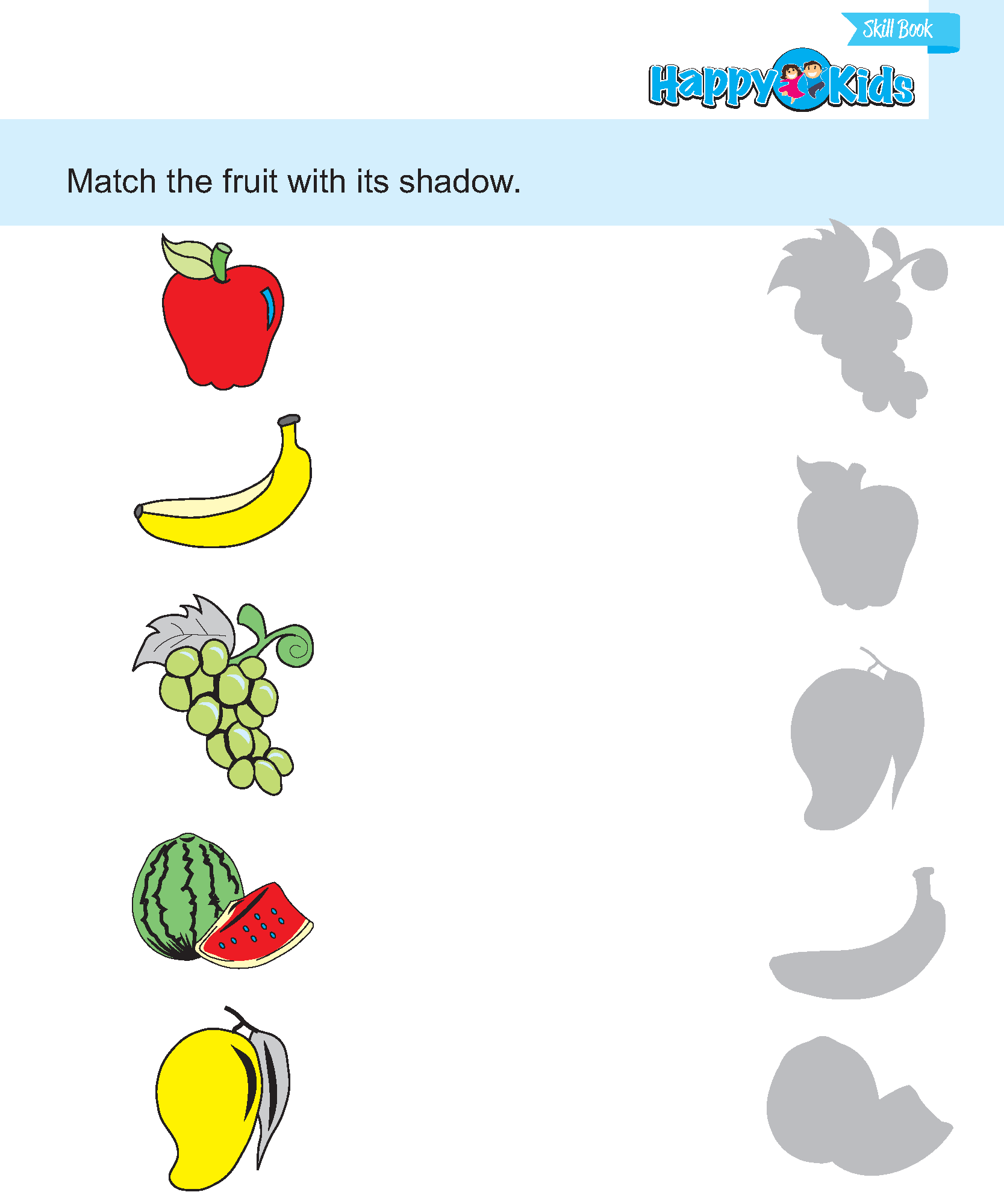 Fruit Matching Worksheet For Preschoolers