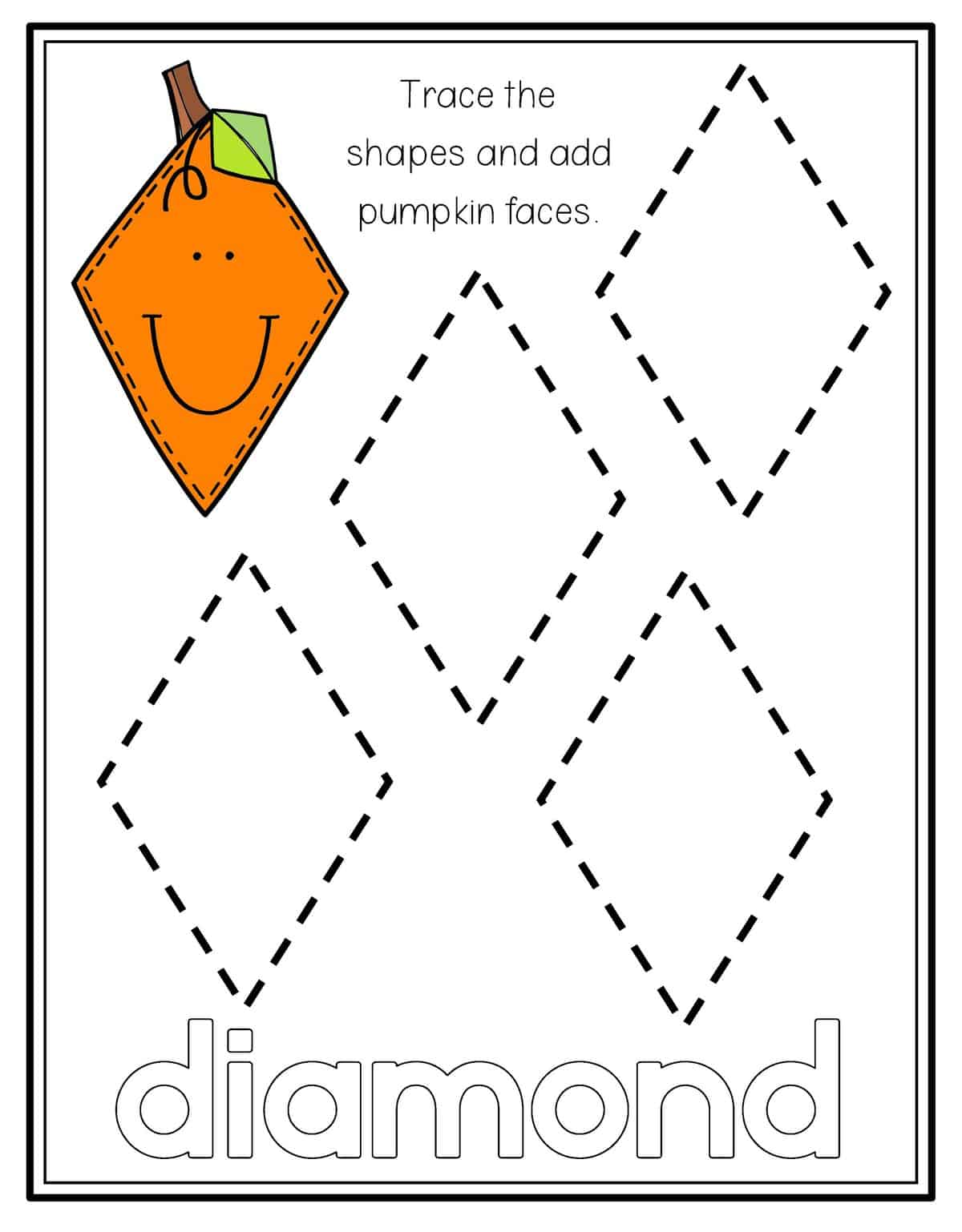 Diamond Shape Tracing Worksheets Preschool