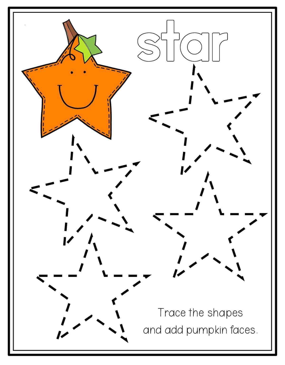Star Tracing Worksheet For Preschool