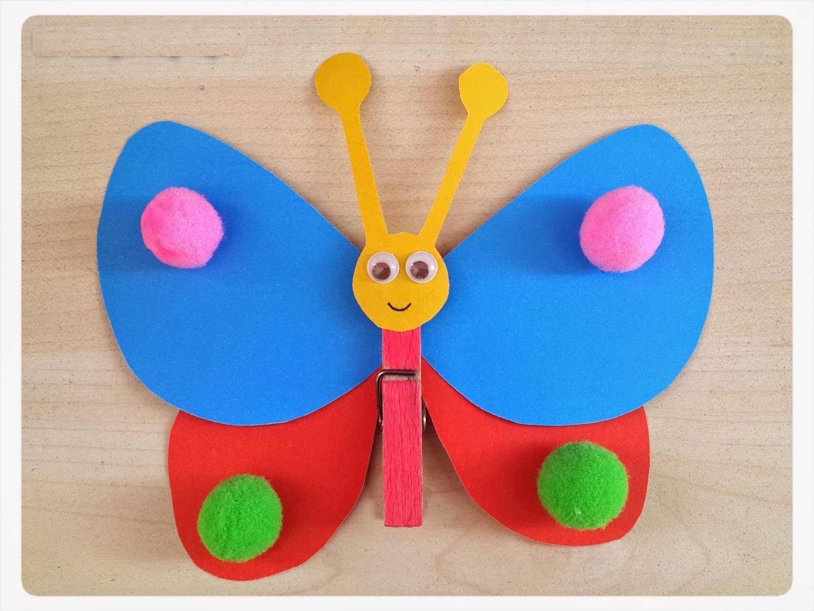 Clothespin And Pom Pom Butterfly Craft Preschoolplanet