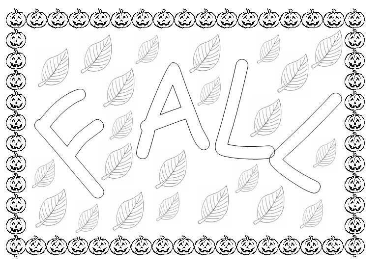 Fall coloring page for kids