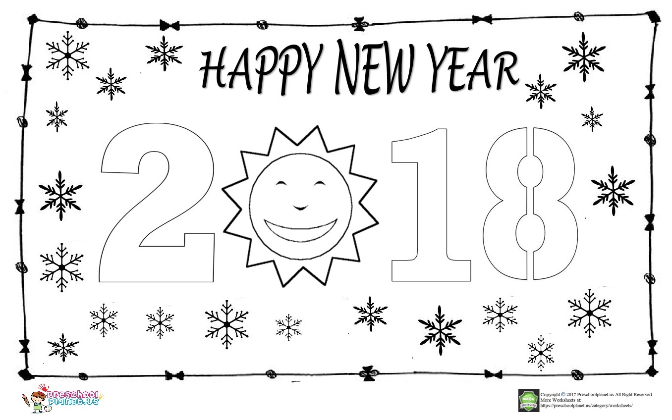 Happy New Year Coloring Page For Kids Preschoolplanet
