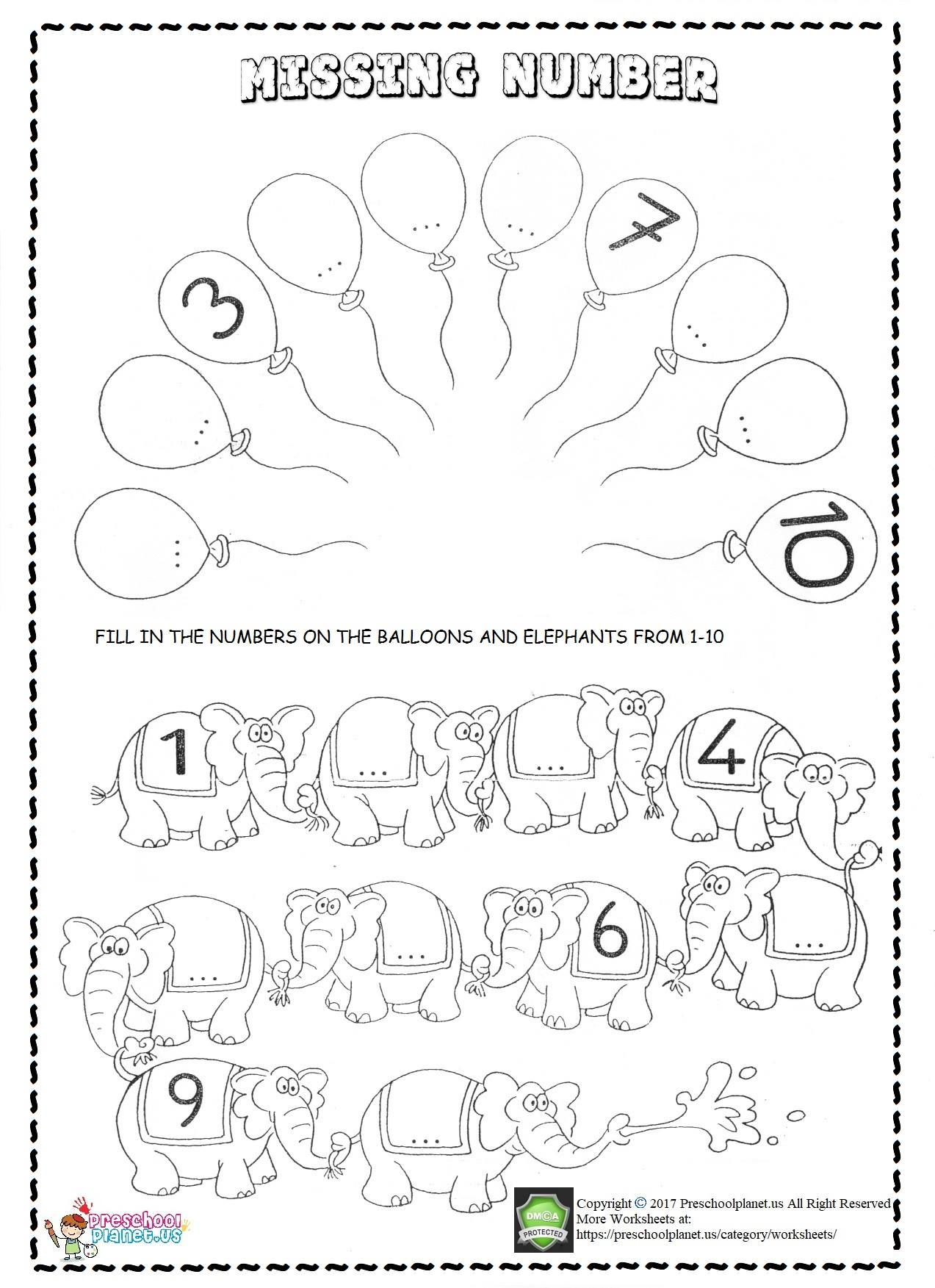 Missing Number Worksheets For Kids