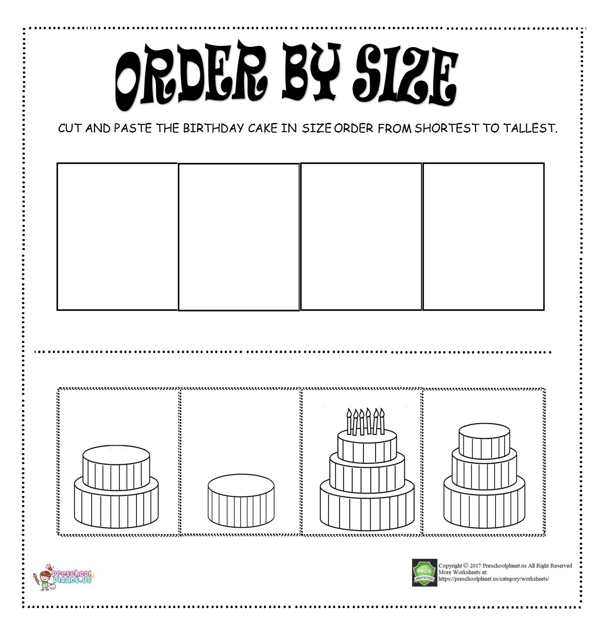 Worksheets Kindergarten Ordering By Size