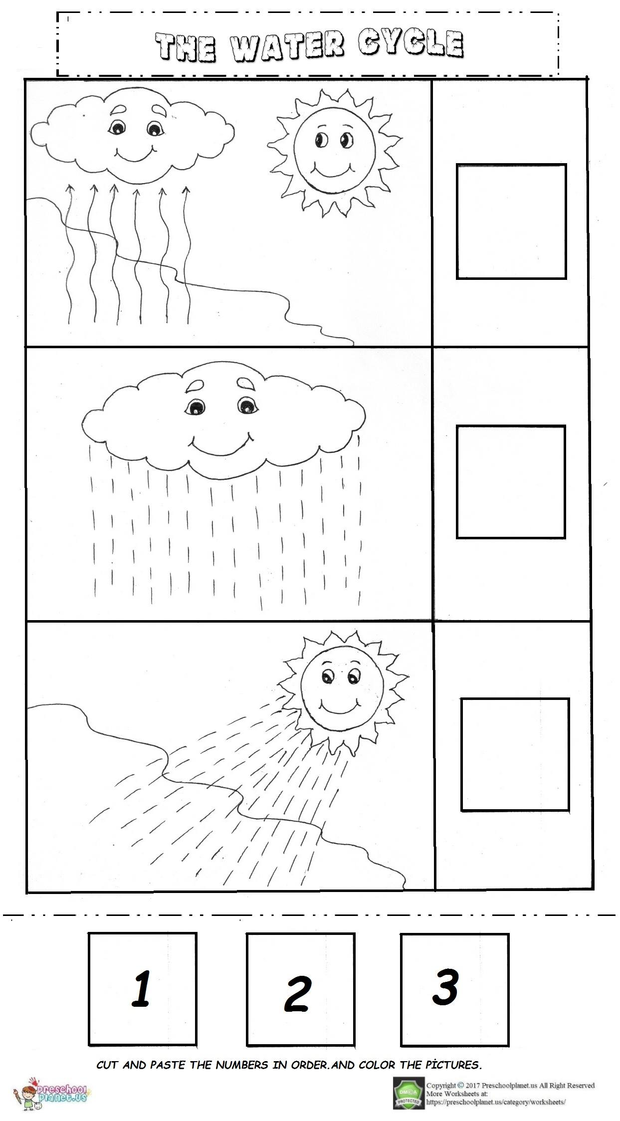 Rain Cycle Preschool Worksheet