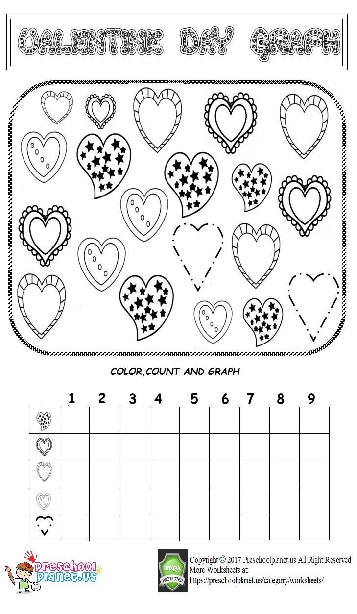 medium resolution of Valentine day graph worksheet – Preschoolplanet
