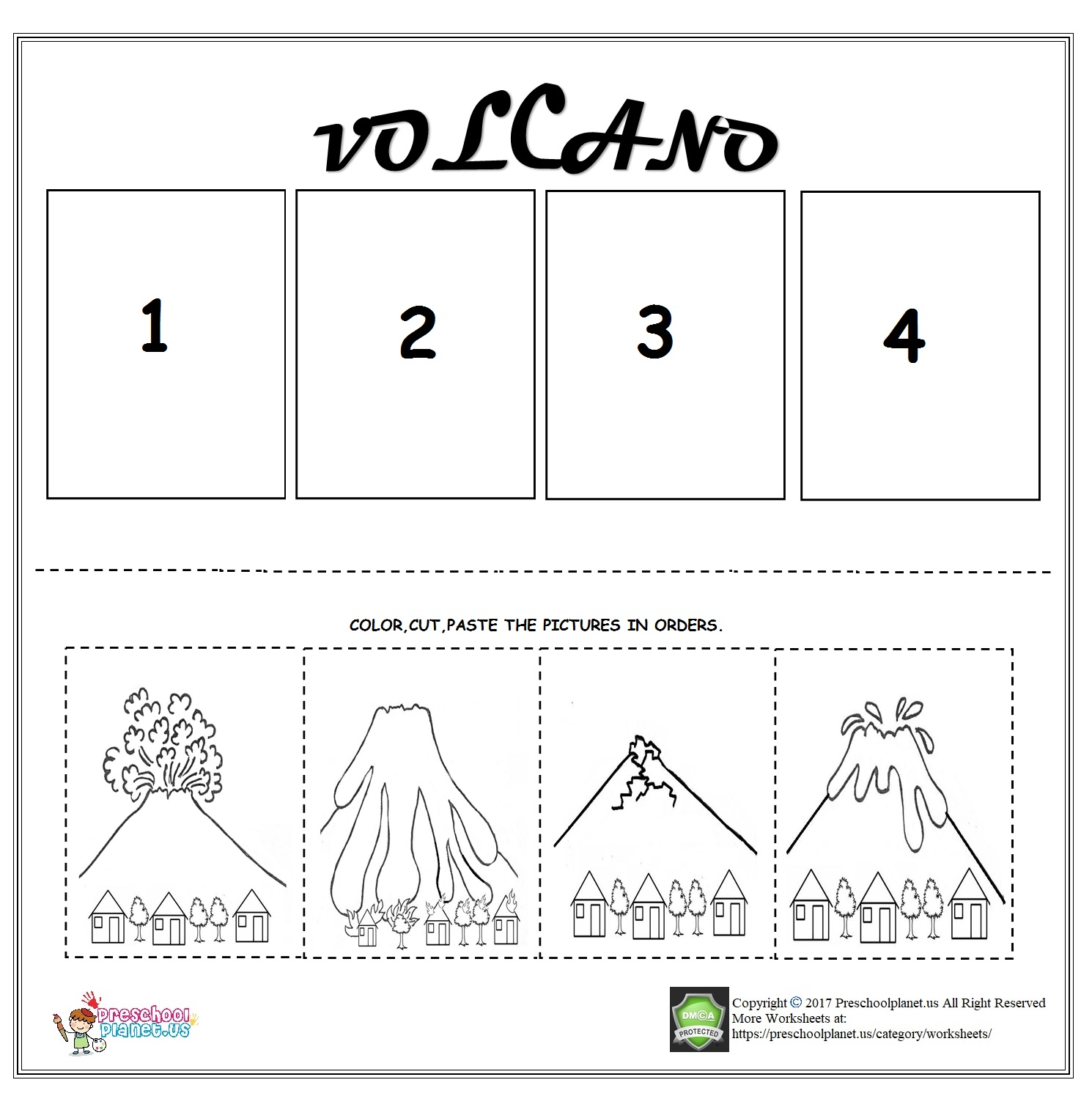 Preschool Easy Volcano Worksheet