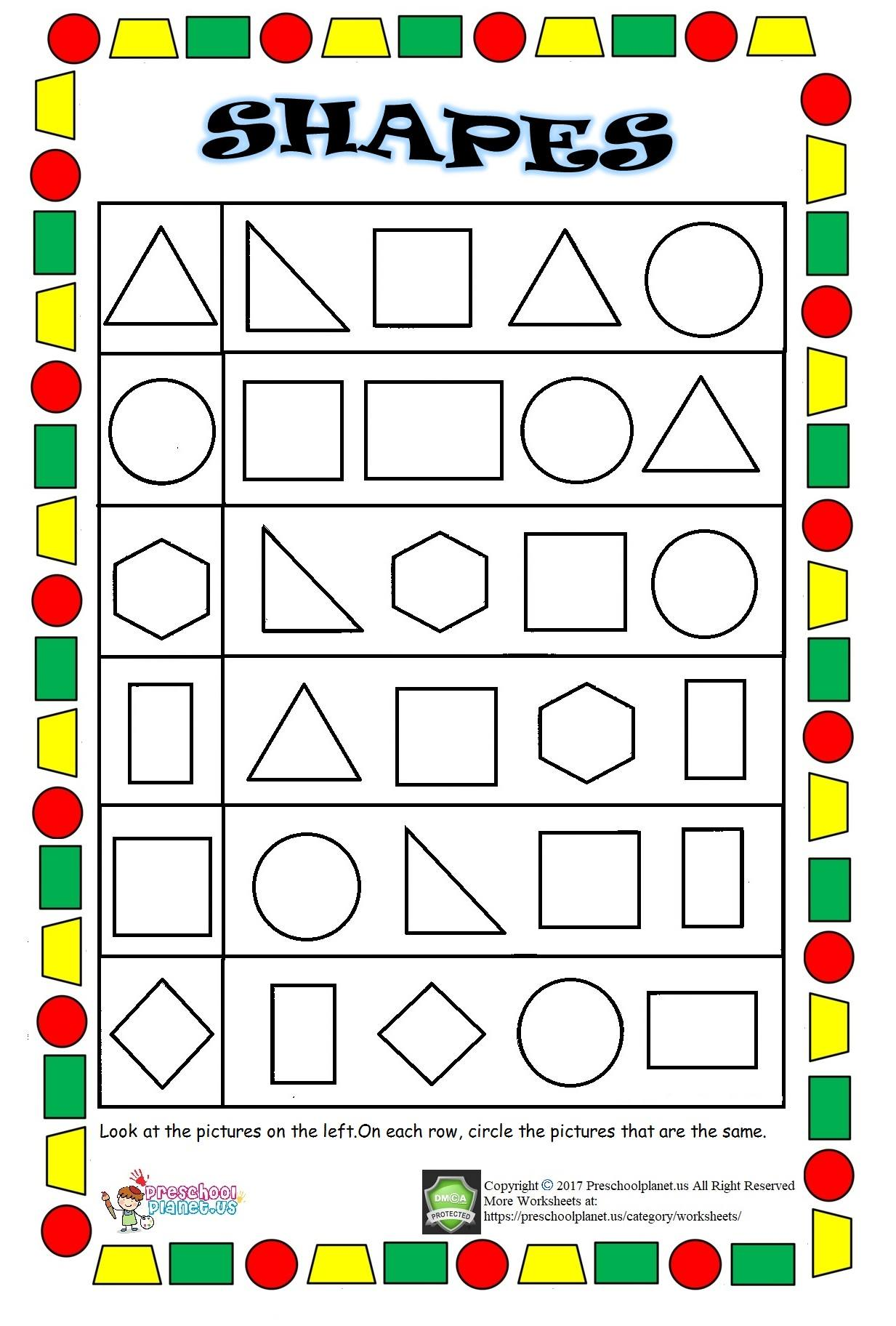Hidden Shapes Worksheet Preschoolplanet