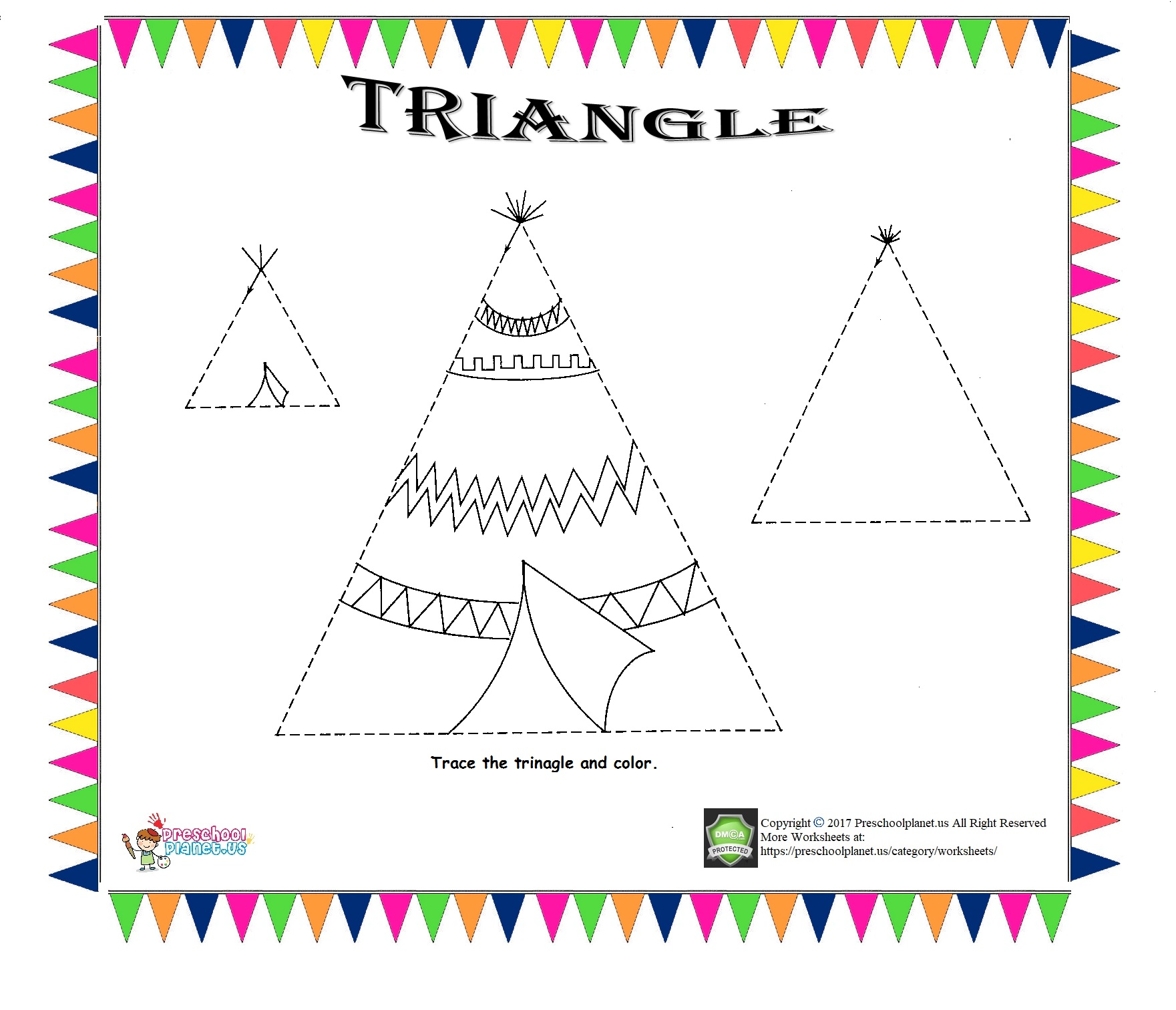 Triangle Trace Worksheet For Kids