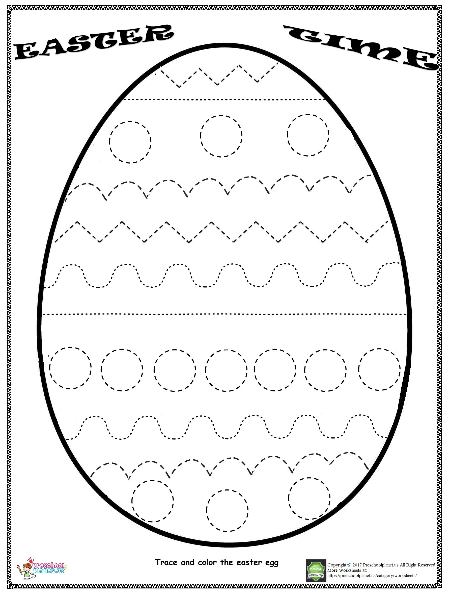 Easter Egg Worksheets Preschool Trace
