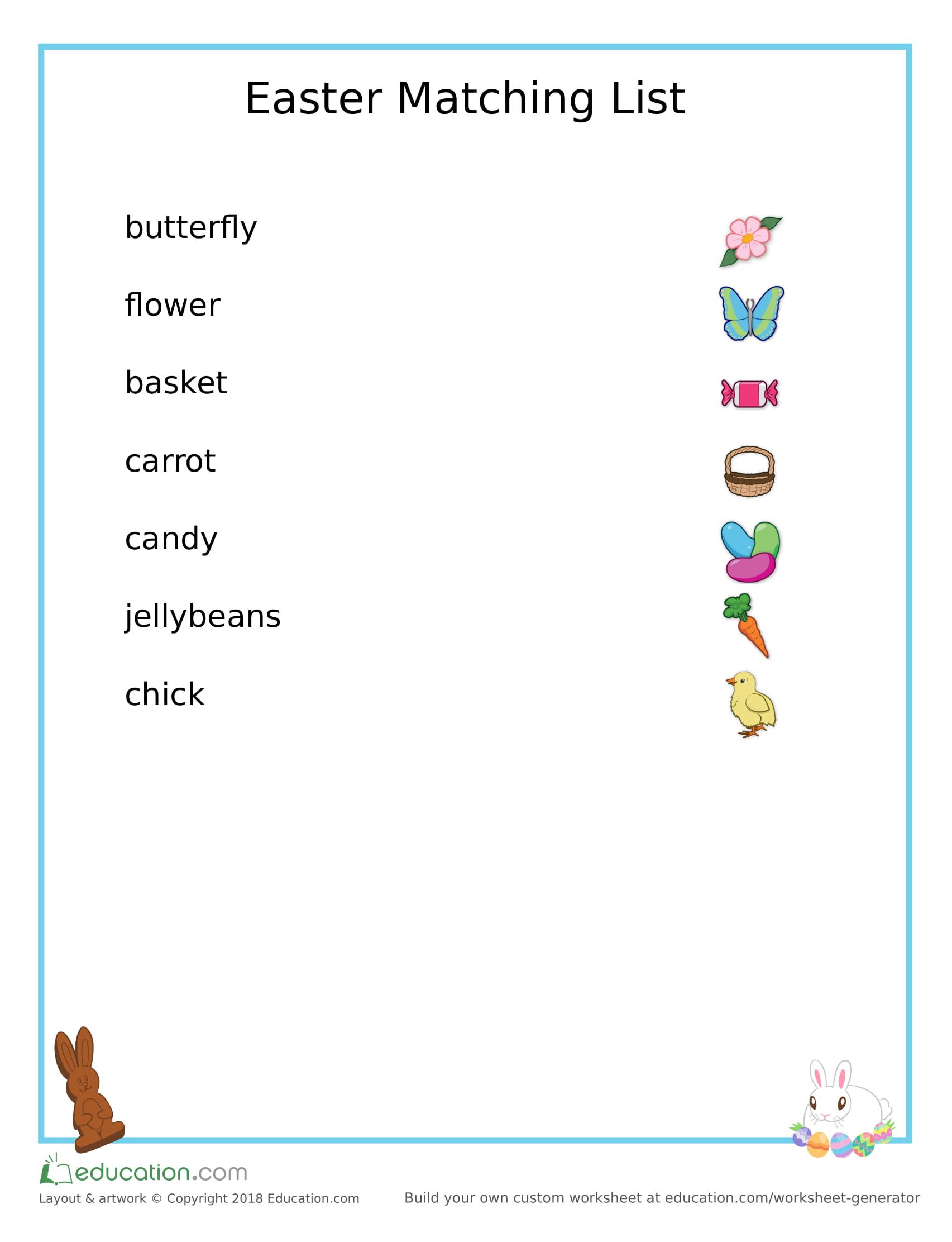 Easter Matching Worksheet Preschoolplanet