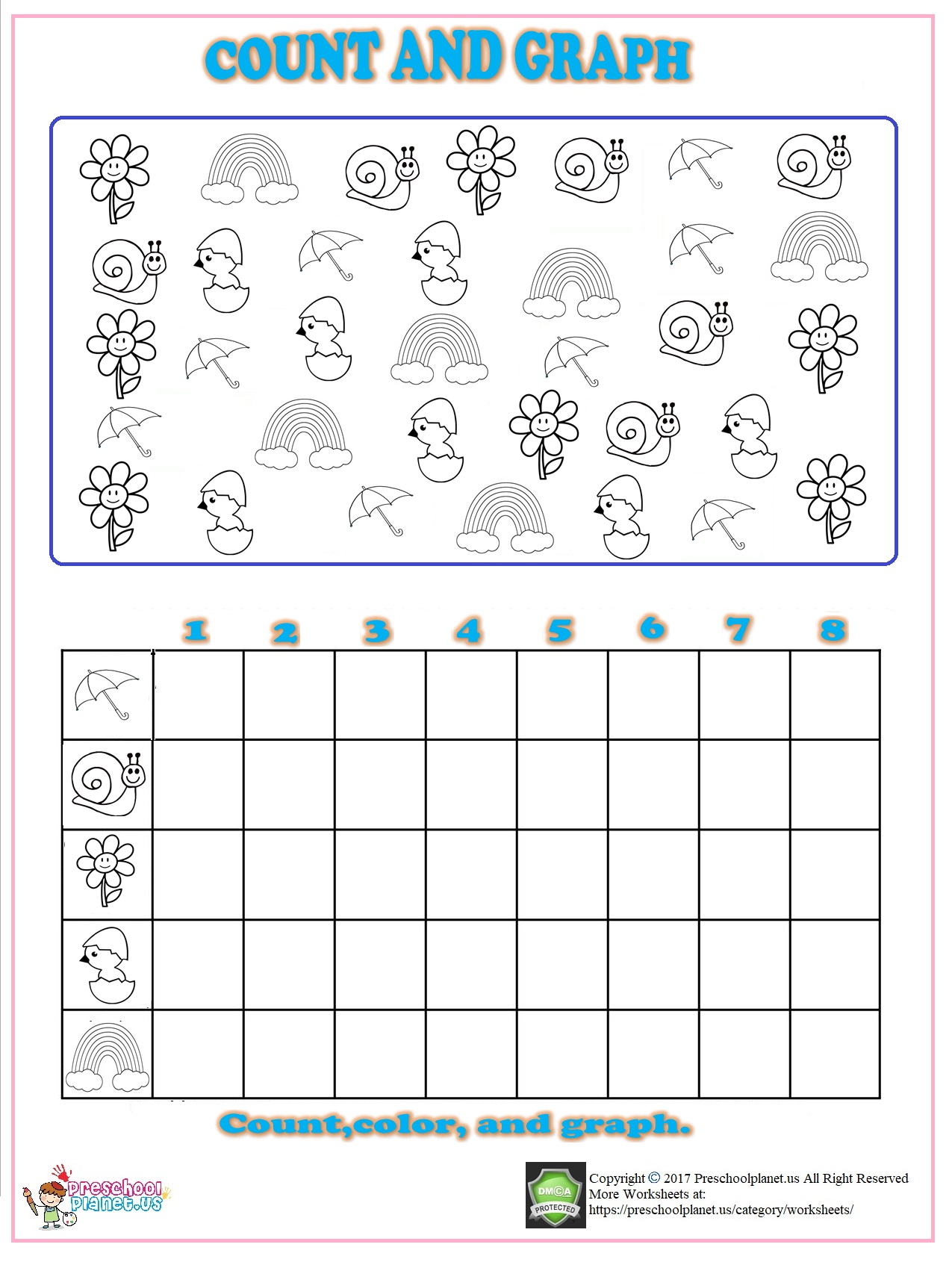 Preschool Worksheet Count Leaves
