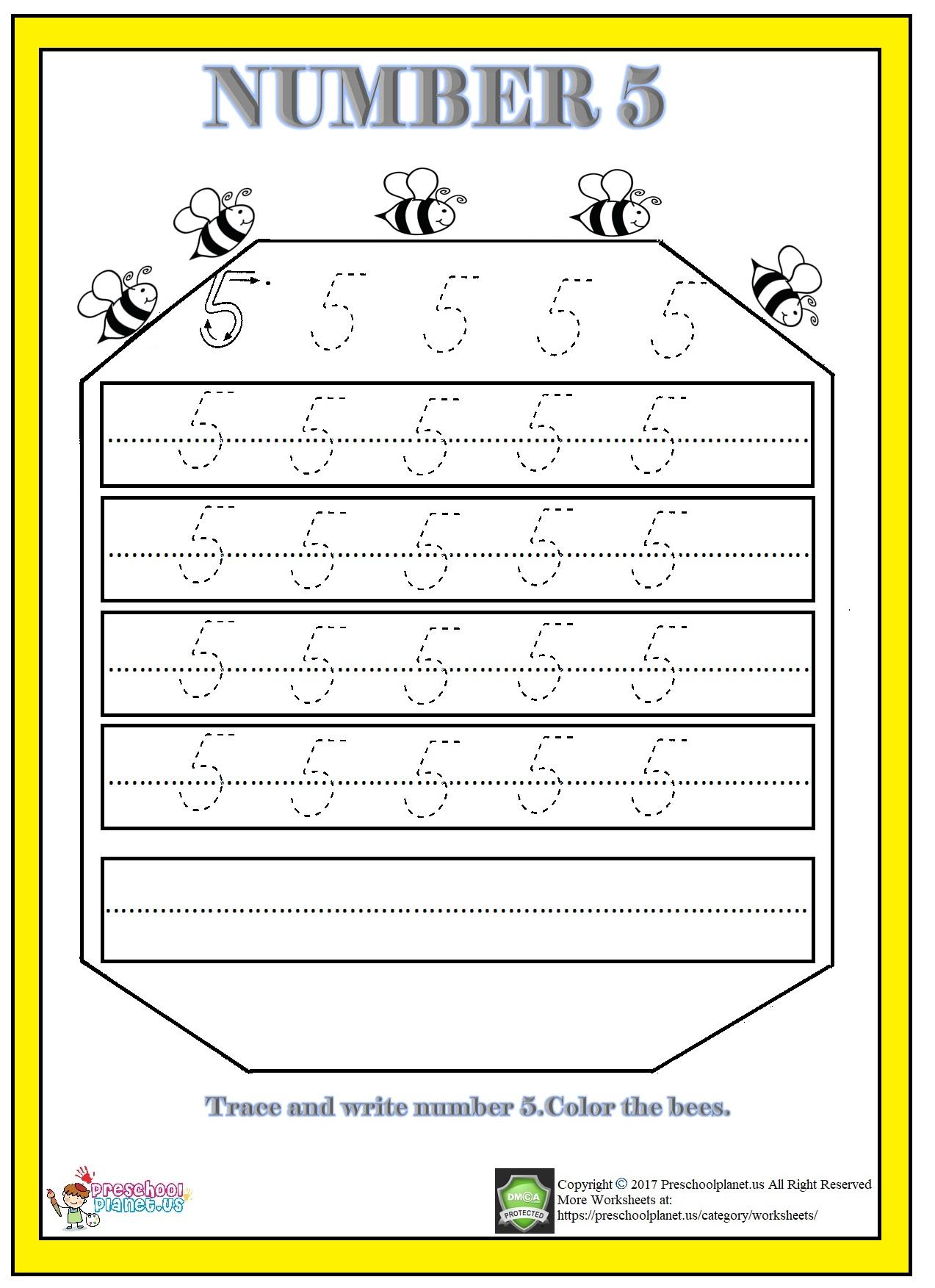 Number 5 Worksheet Printable Preschoolplanet