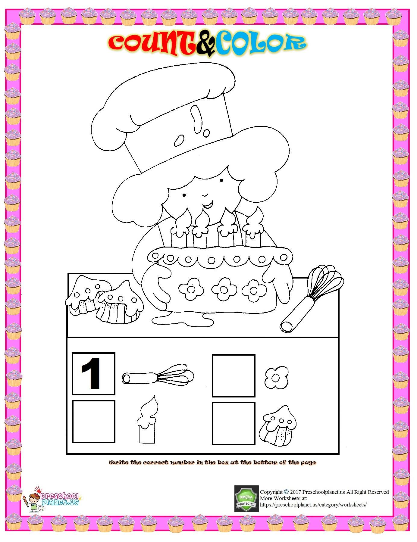 Number Count And Color Worksheet Preschoolplanet