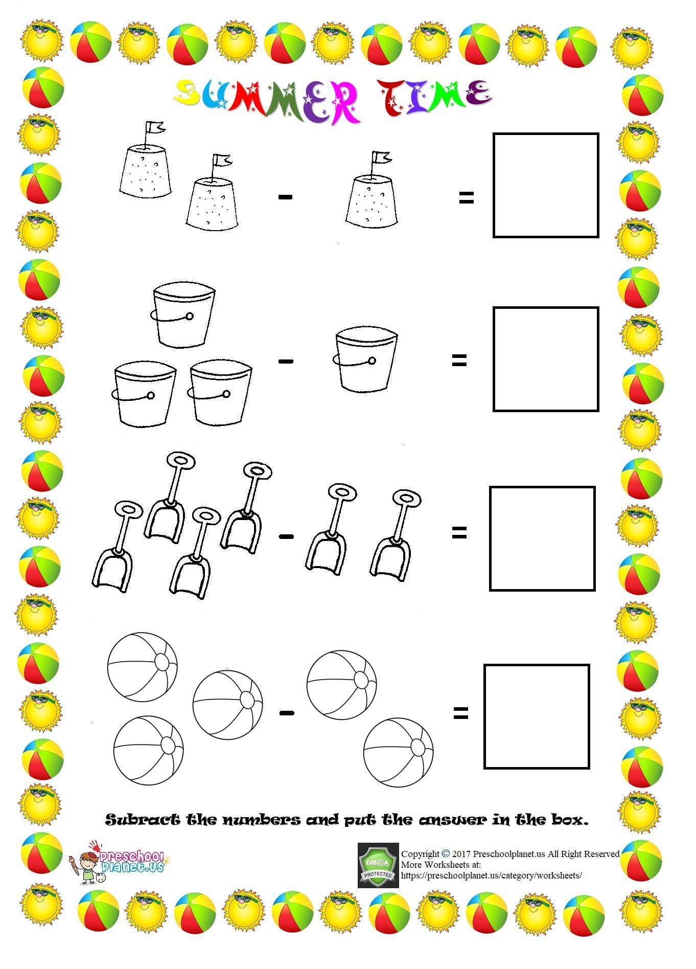 Subtract The Numbers Worksheet