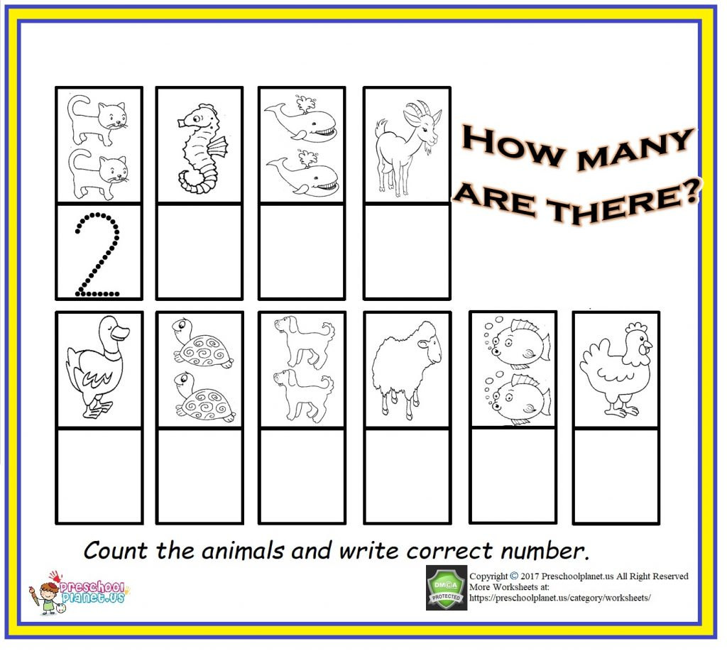 Summer Worksheet Counting Practice