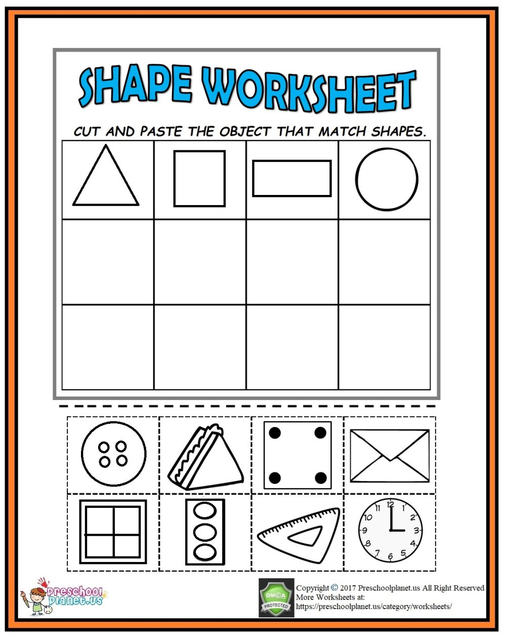 medium resolution of Cut And Paste Shape Worksheet – Preschoolplanet