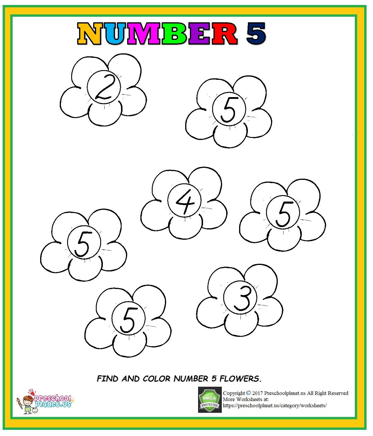 Number 5 Worksheet For Preschool Preschoolplanet
