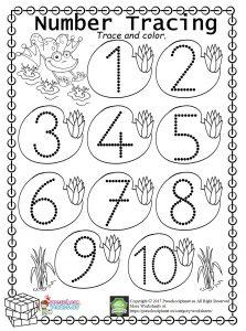 Easy Number Trace Worksheet (1-10)