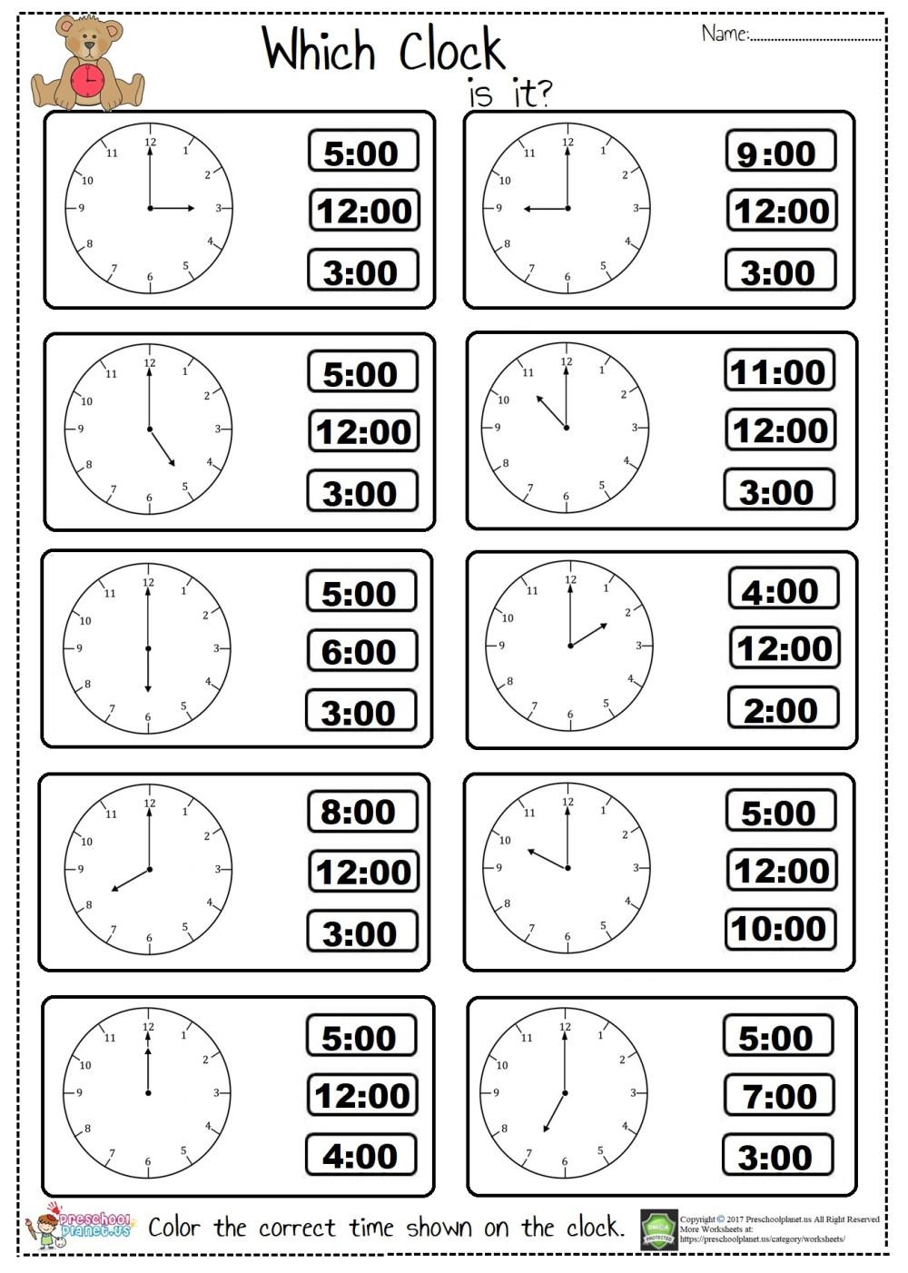medium resolution of Tell The Time Worksheet first grade – Preschoolplanet