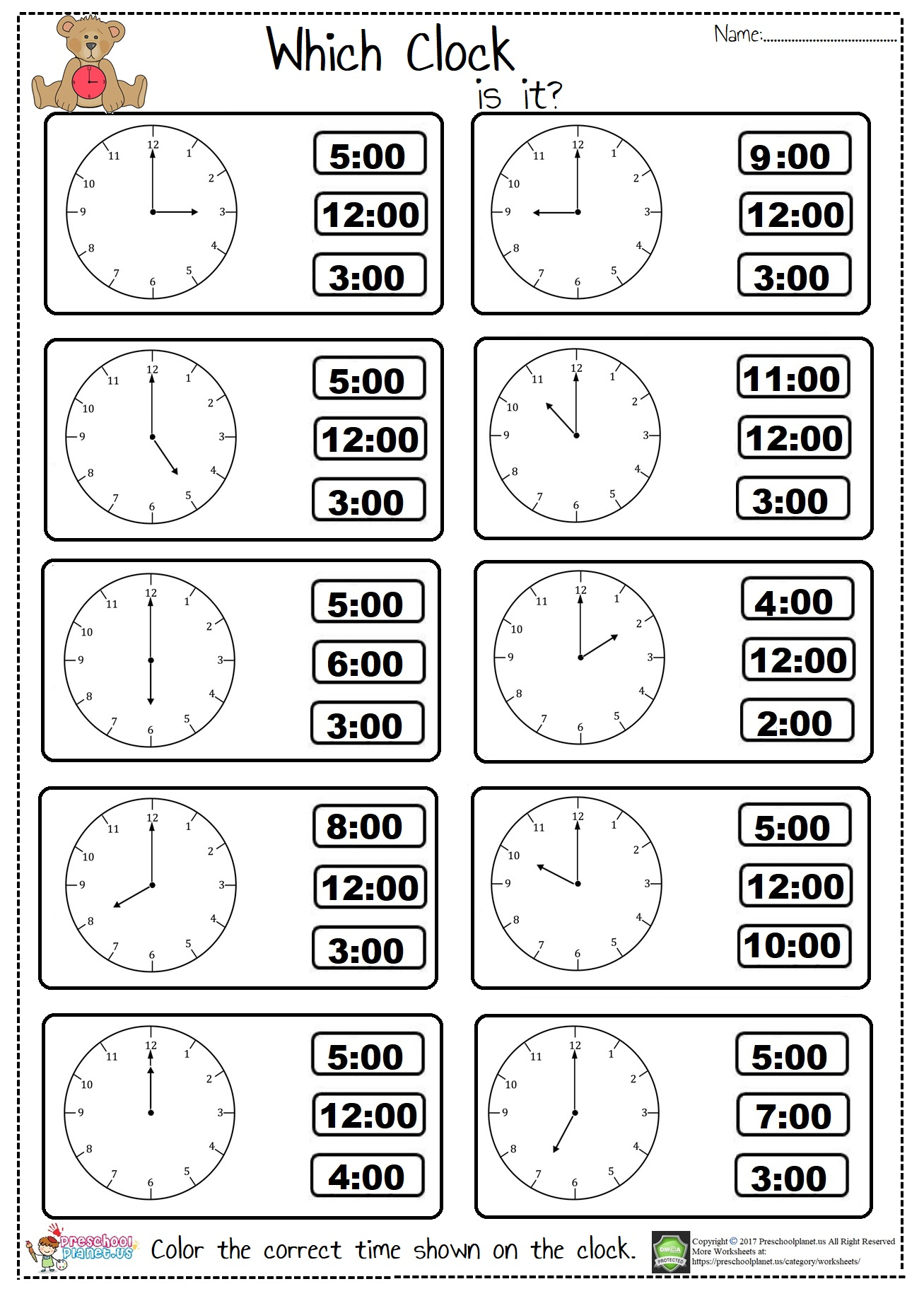 hight resolution of Tell The Time Worksheet first grade – Preschoolplanet