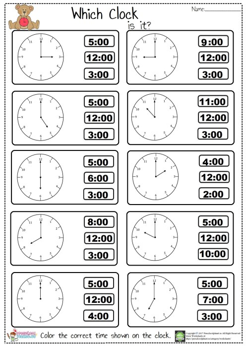 small resolution of Tell The Time Worksheet first grade – Preschoolplanet