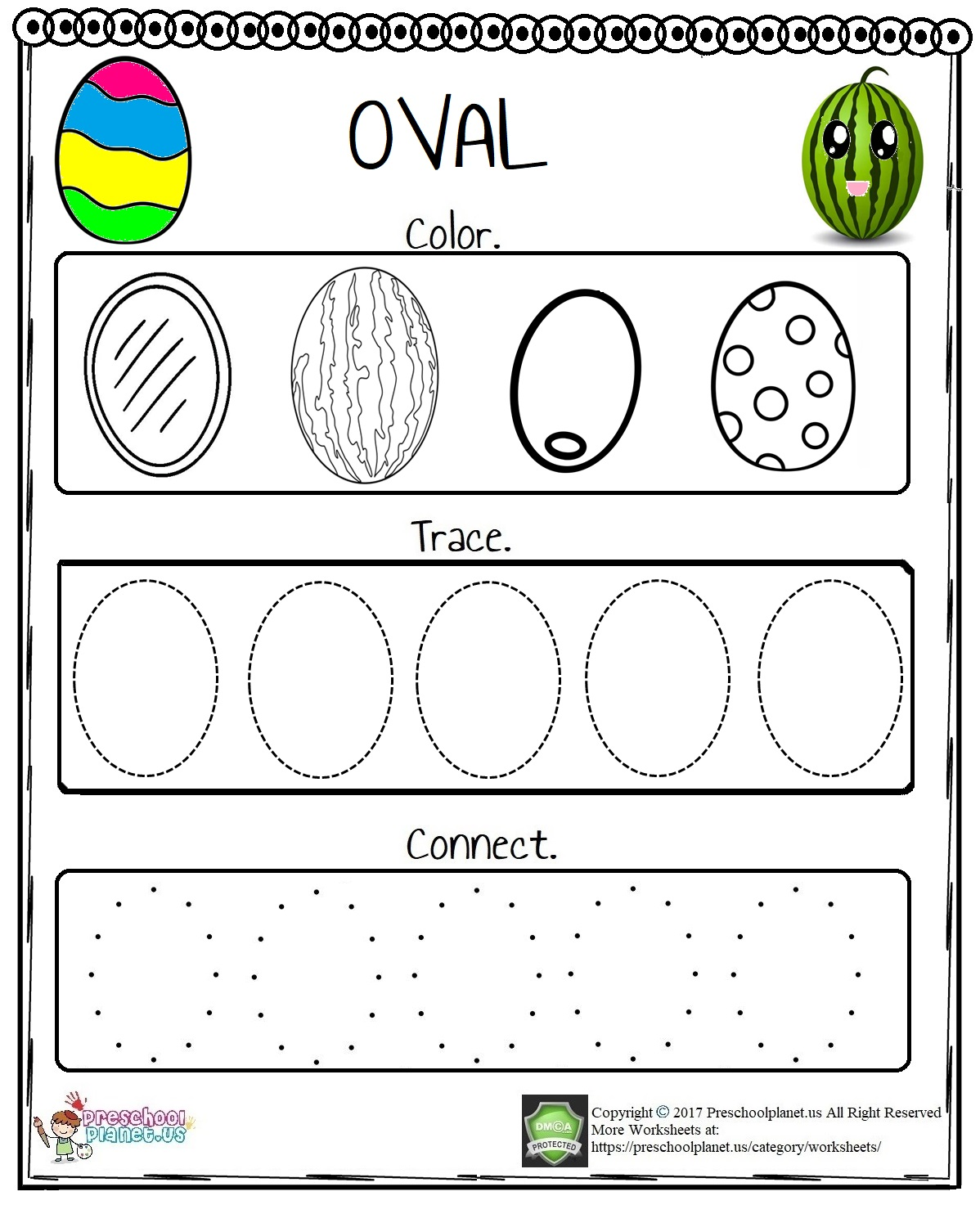 Easter Egg Trace Worksheet Preschoolplanet
