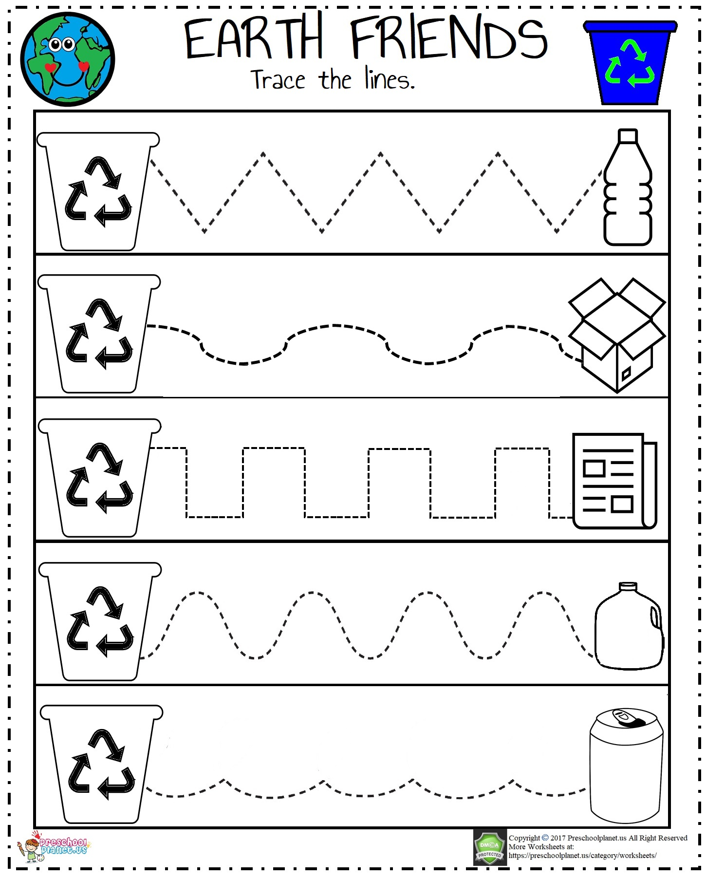 Easy Recycle Worksheet Preschoolplanet