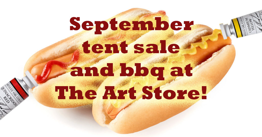 Art supply tent sale and bbq at The Art Store