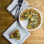 Quiche in pan with mushrooms