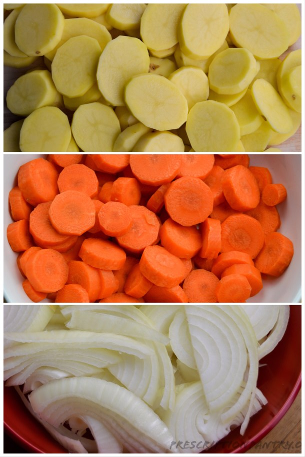 Sliced potatoes carrots and onions