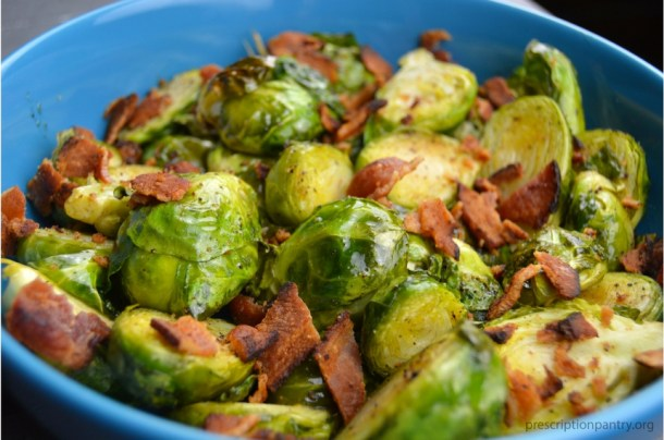 roasted brussel sprouts with bacon in bowl