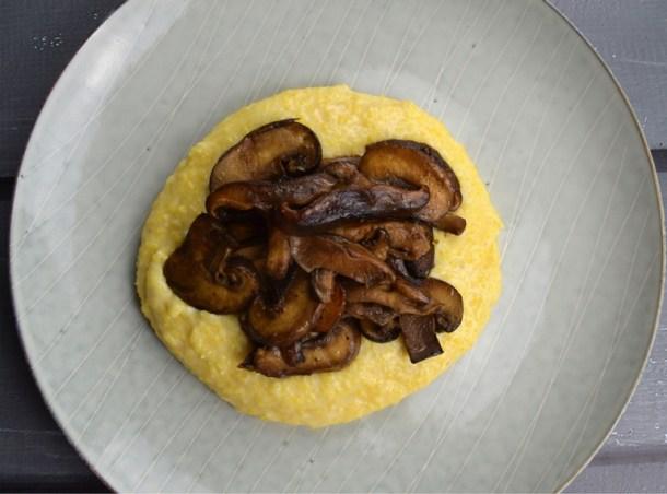 mushrooms cheesy polenta