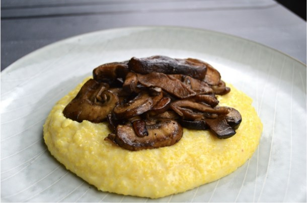 cheesy polenta mushrooms
