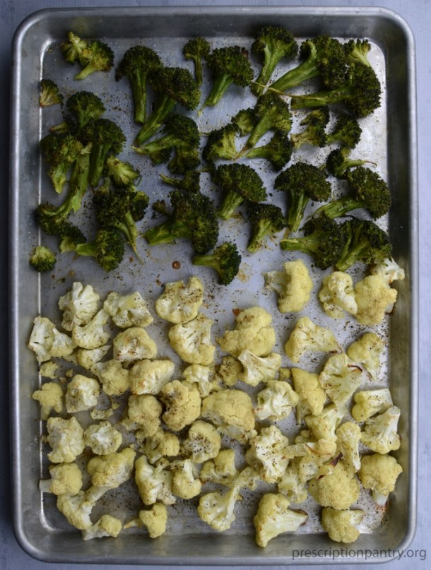 roasted broccoli and cauliflower on pan