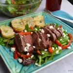 steak salad feta bell pepper bread