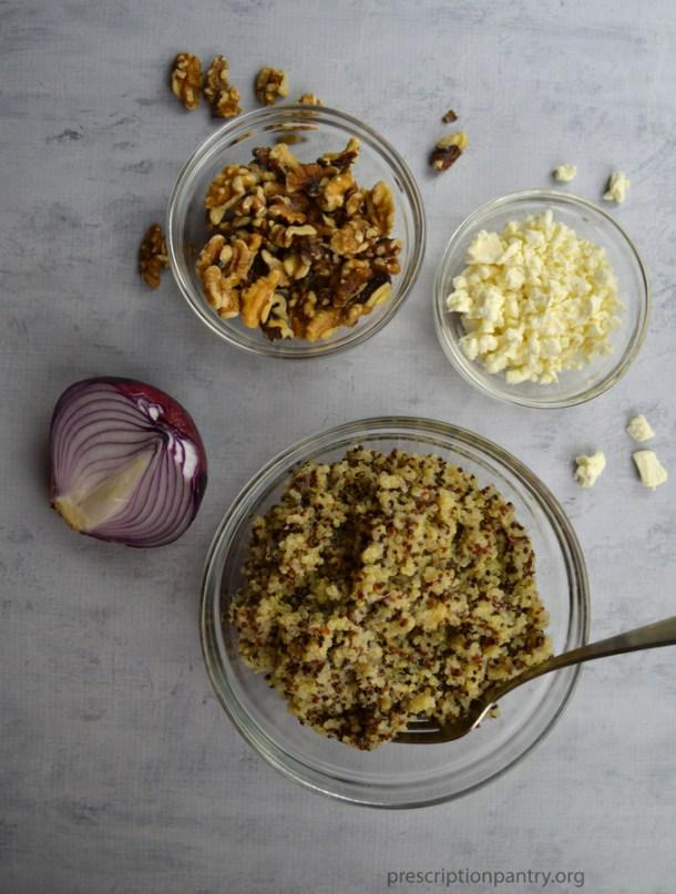 walnuts feta onion quinoa