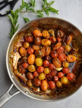 blistered tomatoes balsamic pan basil