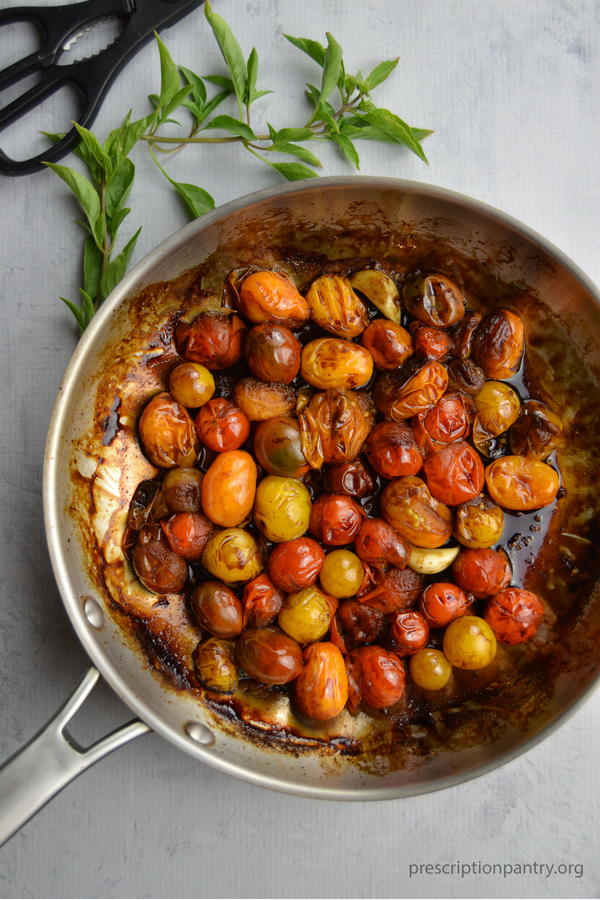 blistered tomatoes balsamic pan basil